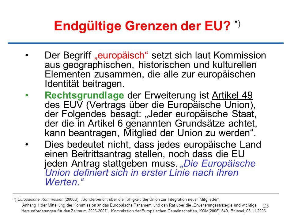 25 Endgültige Grenzen der EU? *) Der Begriff europäisch setzt sich laut Kommission aus geographischen, historischen und kulturellen Elementen zusammen