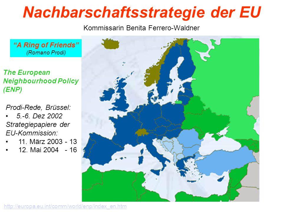 26 Nachbarschaftsstrategie der EU Kommissarin Benita Ferrero-Waldner The European Neighbourhood Policy (ENP) Prodi-Rede, Brüssel: 5.-6. Dez 2002 Strat