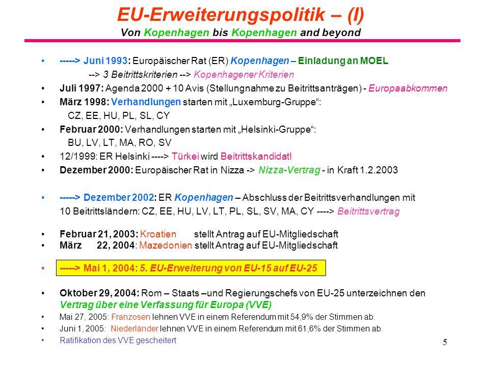 5 EU-Erweiterungspolitik – (I) Von Kopenhagen bis Kopenhagen and beyond -----> Juni 1993: Europäischer Rat (ER) Kopenhagen – Einladung an MOEL --> 3 B