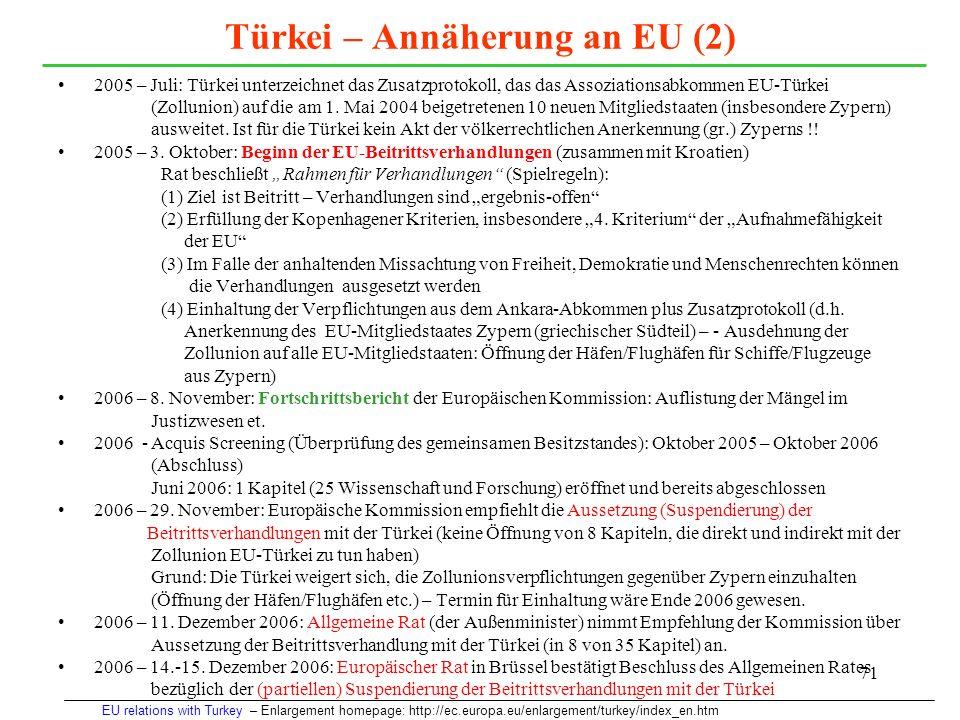 71 Türkei – Annäherung an EU (2) 2005 – Juli: Türkei unterzeichnet das Zusatzprotokoll, das das Assoziationsabkommen EU-Türkei (Zollunion) auf die am