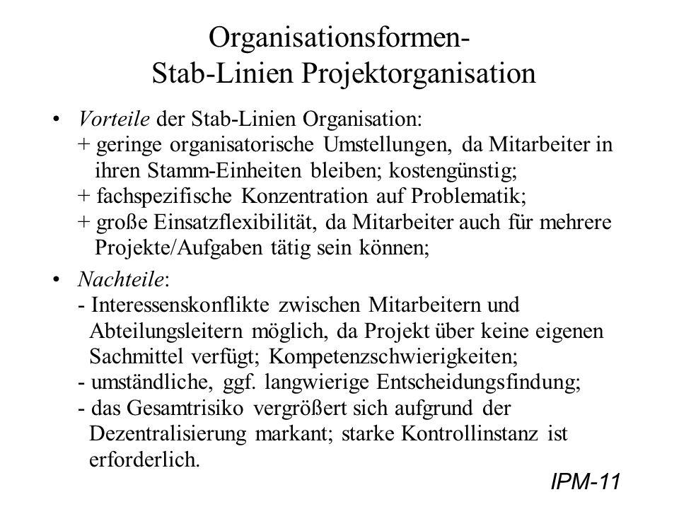 IPM-11 Organisationsformen- Stab-Linien Projektorganisation Vorteile der Stab-Linien Organisation: + geringe organisatorische Umstellungen, da Mitarbe