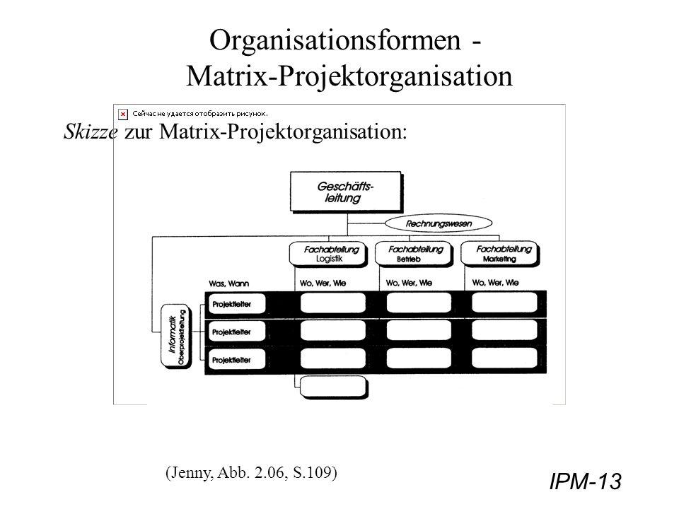 IPM-13 Organisationsformen - Matrix-Projektorganisation Skizze zur Matrix-Projektorganisation: (Jenny, Abb. 2.06, S.109)