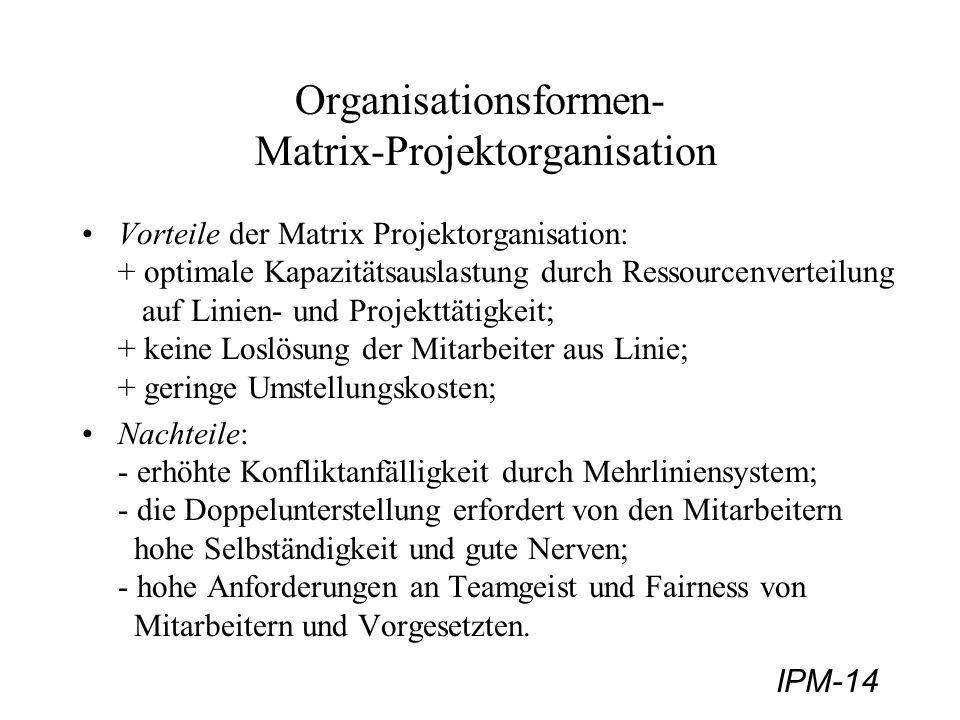 IPM-14 Organisationsformen- Matrix-Projektorganisation Vorteile der Matrix Projektorganisation: + optimale Kapazitätsauslastung durch Ressourcenvertei