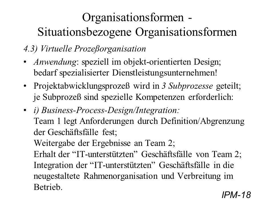 IPM-18 Organisationsformen - Situationsbezogene Organisationsformen 4.3) Virtuelle Prozeßorganisation Anwendung: speziell im objekt-orientierten Desig