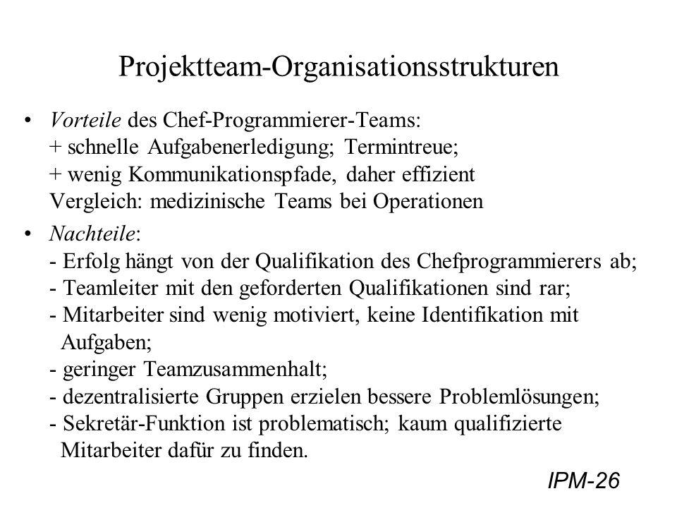 IPM-26 Projektteam-Organisationsstrukturen Vorteile des Chef-Programmierer-Teams: + schnelle Aufgabenerledigung; Termintreue; + wenig Kommunikationspf
