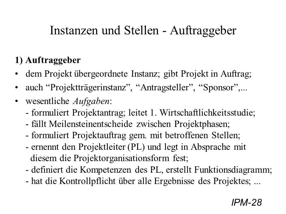 IPM-28 Instanzen und Stellen - Auftraggeber 1) Auftraggeber dem Projekt übergeordnete Instanz; gibt Projekt in Auftrag; auch Projektträgerinstanz, Ant