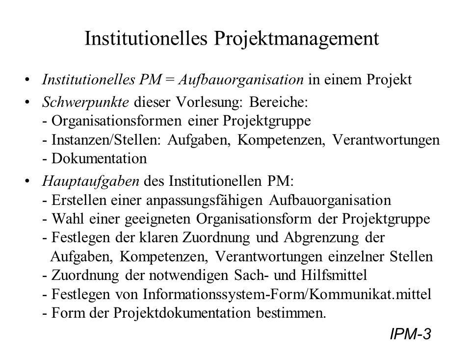 IPM-3 Institutionelles Projektmanagement Institutionelles PM = Aufbauorganisation in einem Projekt Schwerpunkte dieser Vorlesung: Bereiche: - Organisa