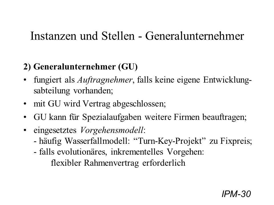 IPM-30 Instanzen und Stellen - Generalunternehmer 2) Generalunternehmer (GU) fungiert als Auftragnehmer, falls keine eigene Entwicklung- sabteilung vo