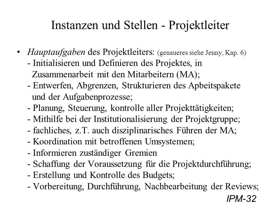 IPM-32 Instanzen und Stellen - Projektleiter Hauptaufgaben des Projektleiters: (genaueres siehe Jenny, Kap. 6) - Initialisieren und Definieren des Pro