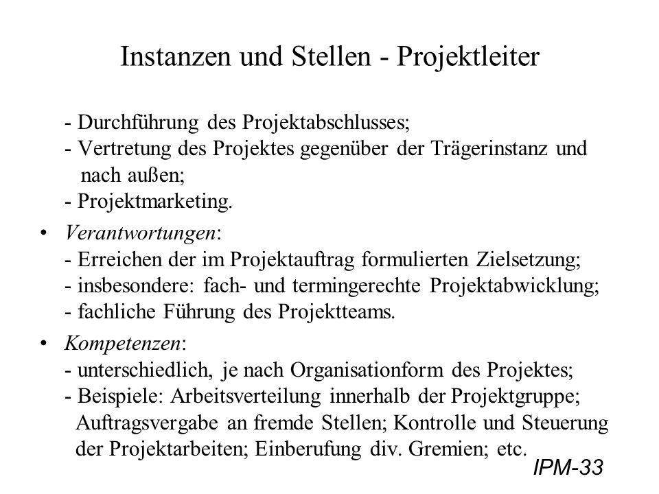 IPM-33 Instanzen und Stellen - Projektleiter - Durchführung des Projektabschlusses; - Vertretung des Projektes gegenüber der Trägerinstanz und nach au