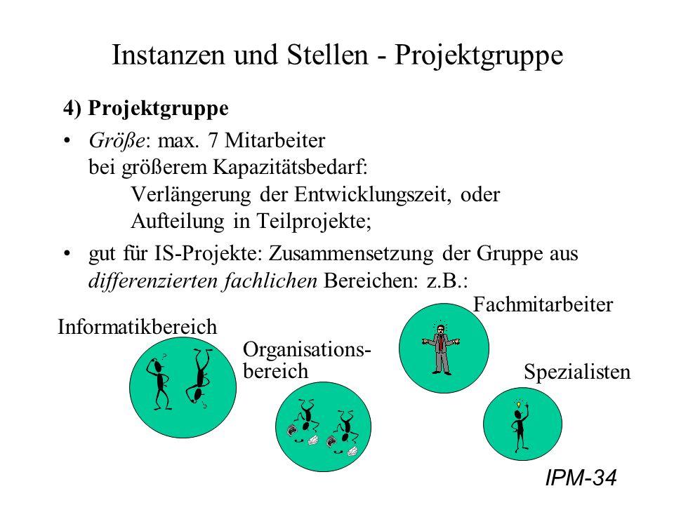 IPM-34 Instanzen und Stellen - Projektgruppe 4) Projektgruppe Größe: max. 7 Mitarbeiter bei größerem Kapazitätsbedarf: Verlängerung der Entwicklungsze