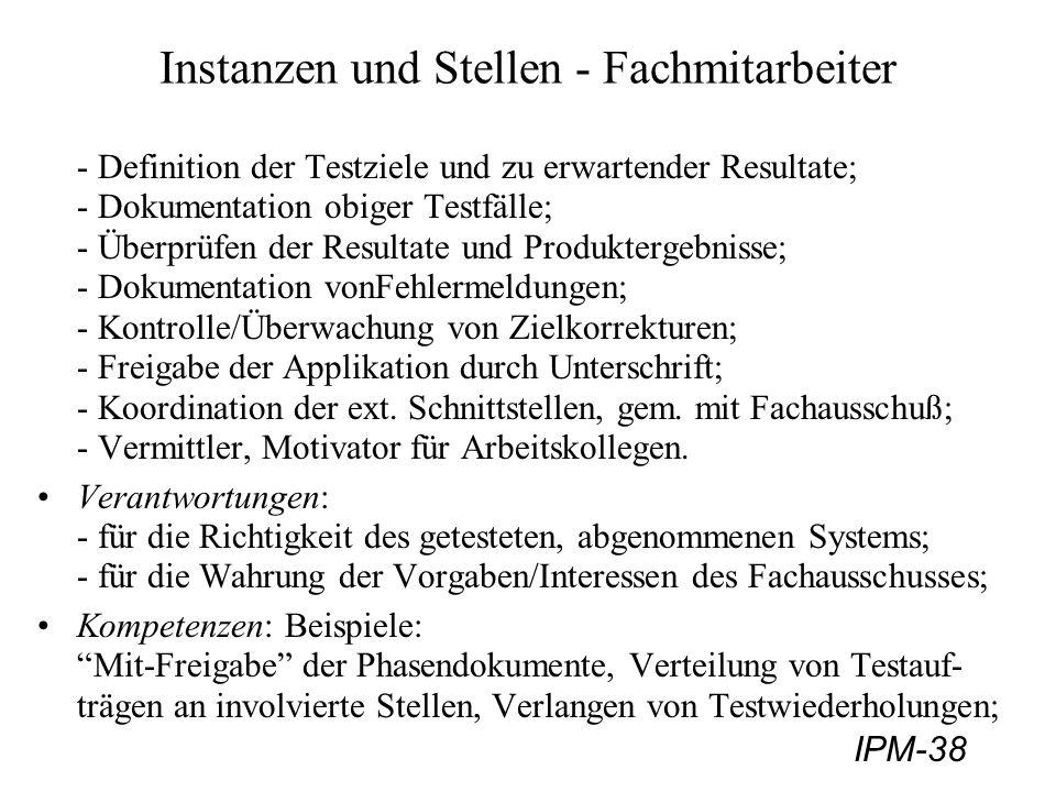 IPM-38 Instanzen und Stellen - Fachmitarbeiter - Definition der Testziele und zu erwartender Resultate; - Dokumentation obiger Testfälle; - Überprüfen