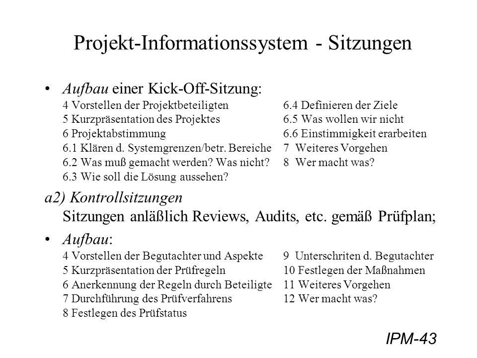 IPM-43 Projekt-Informationssystem - Sitzungen Aufbau einer Kick-Off-Sitzung: 4 Vorstellen der Projektbeteiligten6.4 Definieren der Ziele 5 Kurzpräsent