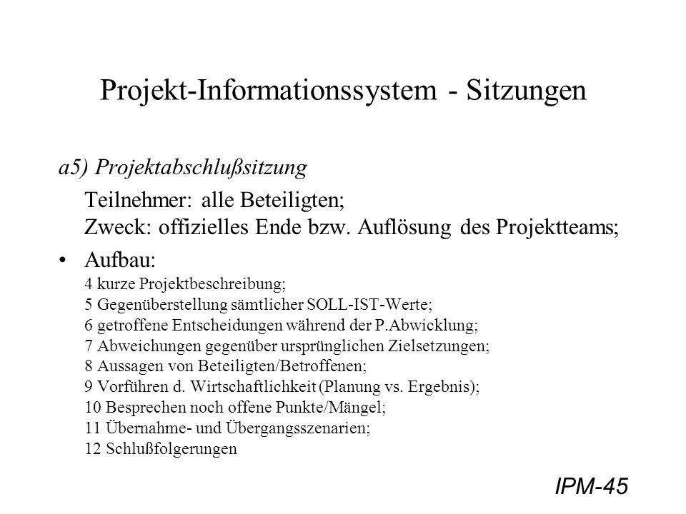IPM-45 Projekt-Informationssystem - Sitzungen a5) Projektabschlußsitzung Teilnehmer: alle Beteiligten; Zweck: offizielles Ende bzw. Auflösung des Proj