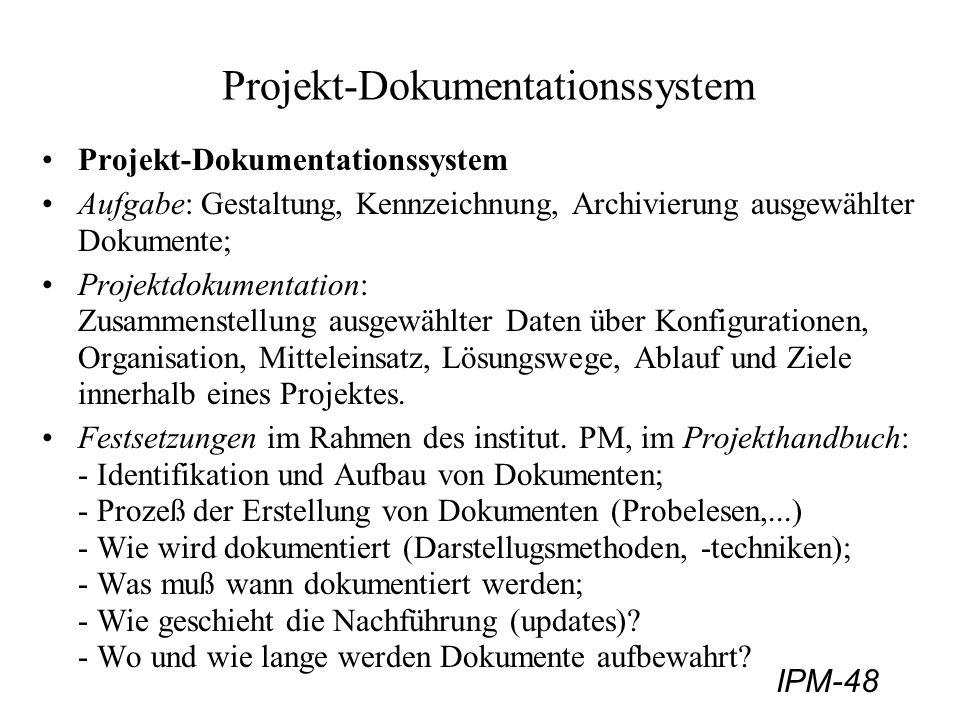 IPM-48 Projekt-Dokumentationssystem Aufgabe: Gestaltung, Kennzeichnung, Archivierung ausgewählter Dokumente; Projektdokumentation: Zusammenstellung au
