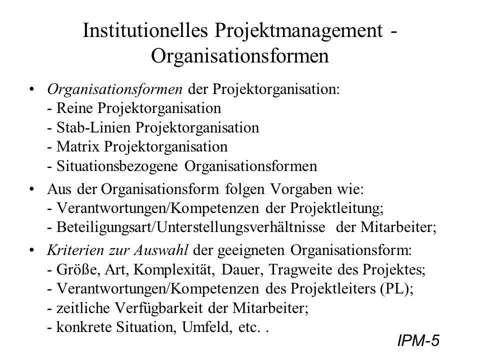 IPM-5 Institutionelles Projektmanagement - Organisationsformen Organisationsformen der Projektorganisation: - Reine Projektorganisation - Stab-Linien