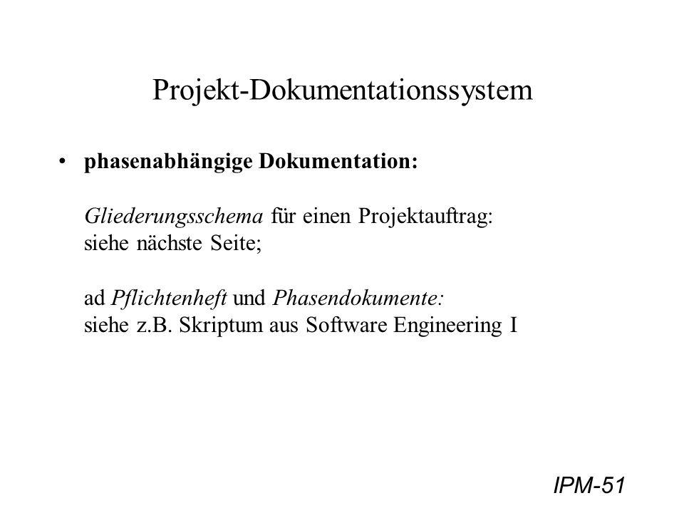 IPM-51 Projekt-Dokumentationssystem phasenabhängige Dokumentation: Gliederungsschema für einen Projektauftrag: siehe nächste Seite; ad Pflichtenheft u