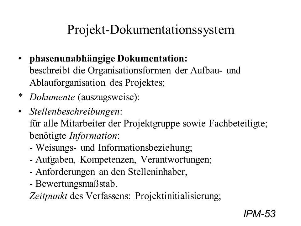 IPM-53 Projekt-Dokumentationssystem phasenunabhängige Dokumentation: beschreibt die Organisationsformen der Aufbau- und Ablauforganisation des Projekt