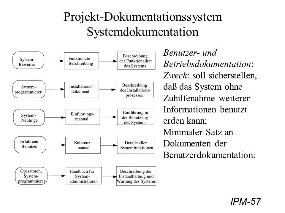 IPM-57 Projekt-Dokumentationssystem Systemdokumentation Benutzer- und Betriebsdokumentation: Zweck: soll sicherstellen, daß das System ohne Zuhilfenah