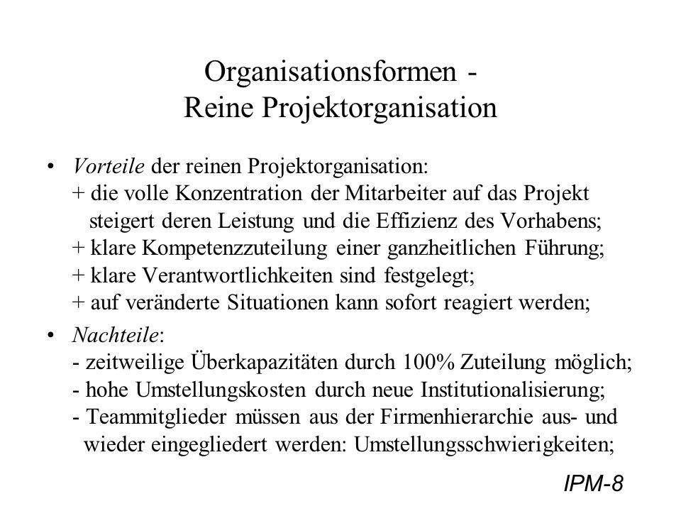 IPM-9 Organisationsformen - Stab-Linien Projektorganisation 2) Stab-Linien Projektorganisation: Projektleiter: - Leitung als Koordinationsaufgabe, ohne formale Weisungsrechte; Projektkoordinator; - ist für den sachlichen und terminlichen Ablauf mitverantwortlich; - ist verantwortlich für: Empfehlungen und Berichte; Informationsfluß; Qualität der Vorschläge,...