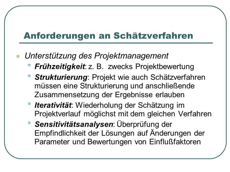Anforderungen an Schätzverfahren Unterstützung des Projektmanagement Frühzeitigkeit: z. B. zwecks Projektbewertung Strukturierung: Projekt wie auch Sc