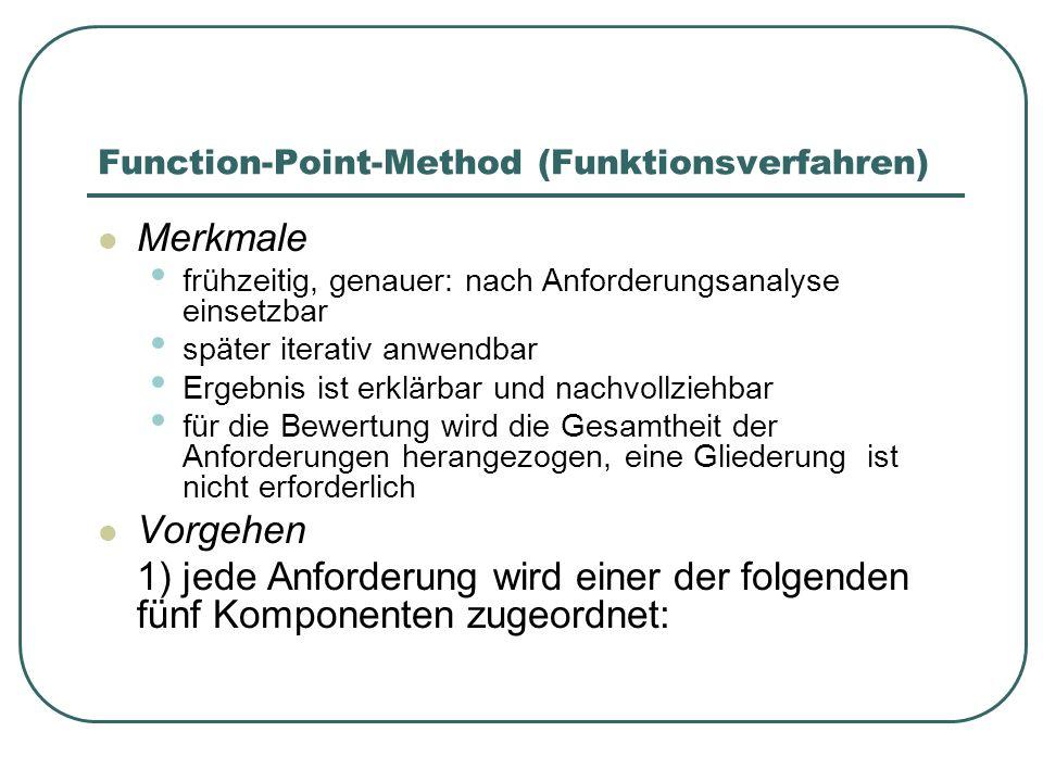 Function-Point-Method (Funktionsverfahren) Merkmale frühzeitig, genauer: nach Anforderungsanalyse einsetzbar später iterativ anwendbar Ergebnis ist er