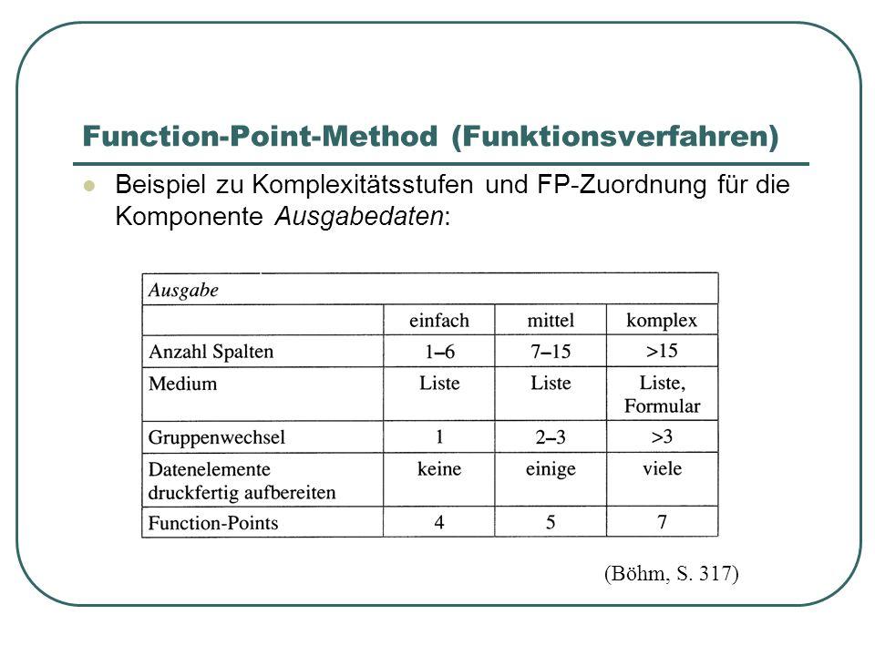 Function-Point-Method (Funktionsverfahren) Beispiel zu Komplexitätsstufen und FP-Zuordnung für die Komponente Ausgabedaten: (Böhm, S. 317)
