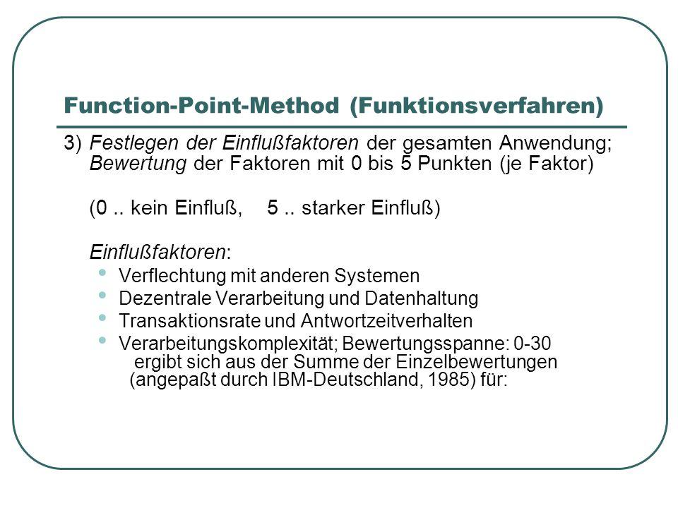 Function-Point-Method (Funktionsverfahren) 3)Festlegen der Einflußfaktoren der gesamten Anwendung; Bewertung der Faktoren mit 0 bis 5 Punkten (je Fakt