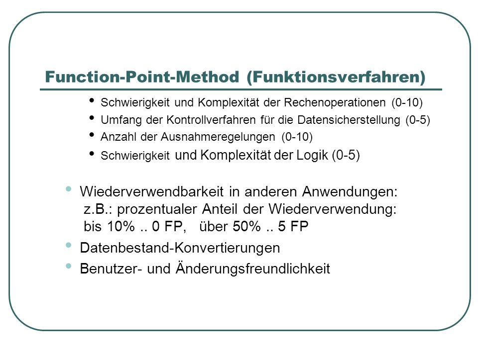 Function-Point-Method (Funktionsverfahren) Schwierigkeit und Komplexität der Rechenoperationen (0-10) Umfang der Kontrollverfahren für die Datensicher