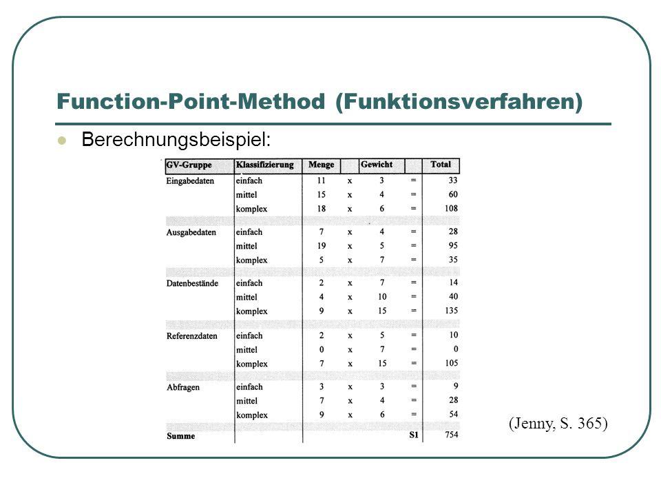 Function-Point-Method (Funktionsverfahren) Berechnungsbeispiel: (Jenny, S. 365)