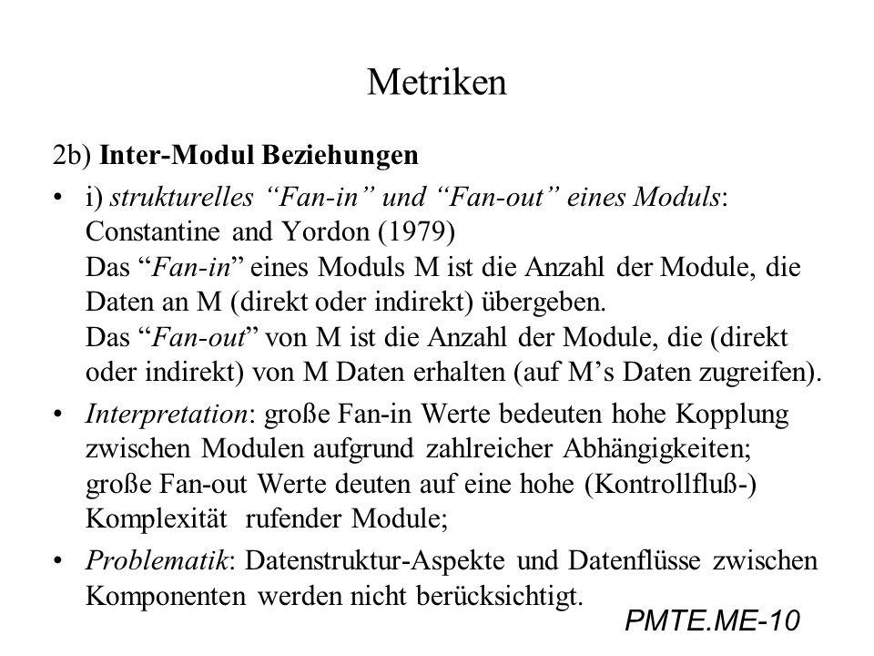 PMTE.ME-10 Metriken 2b) Inter-Modul Beziehungen i) strukturelles Fan-in und Fan-out eines Moduls: Constantine and Yordon (1979) Das Fan-in eines Modul