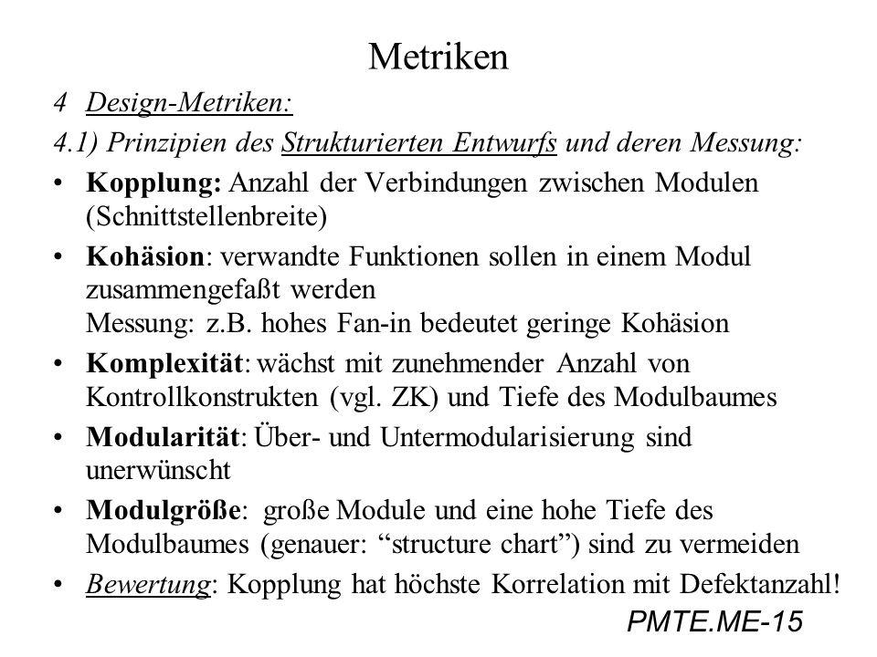 PMTE.ME-15 Metriken 4Design-Metriken: 4.1) Prinzipien des Strukturierten Entwurfs und deren Messung: Kopplung: Anzahl der Verbindungen zwischen Module