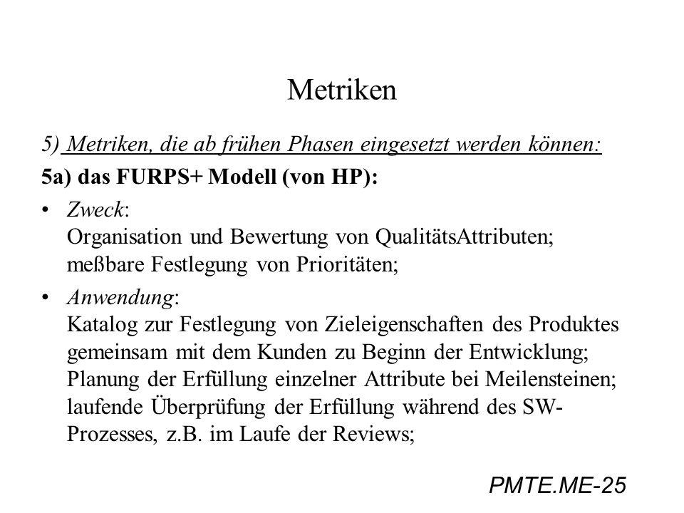 PMTE.ME-25 Metriken 5)Metriken, die ab frühen Phasen eingesetzt werden können: 5a) das FURPS+ Modell (von HP): Zweck: Organisation und Bewertung von Q