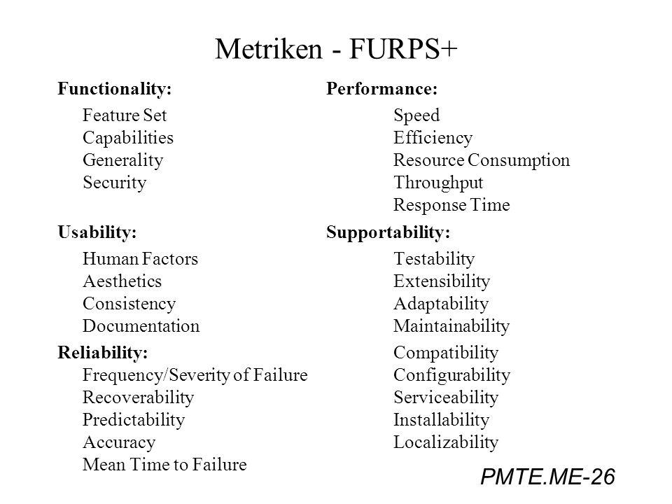 PMTE.ME-26 Metriken - FURPS+ Functionality:Performance: Feature SetSpeed CapabilitiesEfficiency GeneralityResource Consumption SecurityThroughput Resp