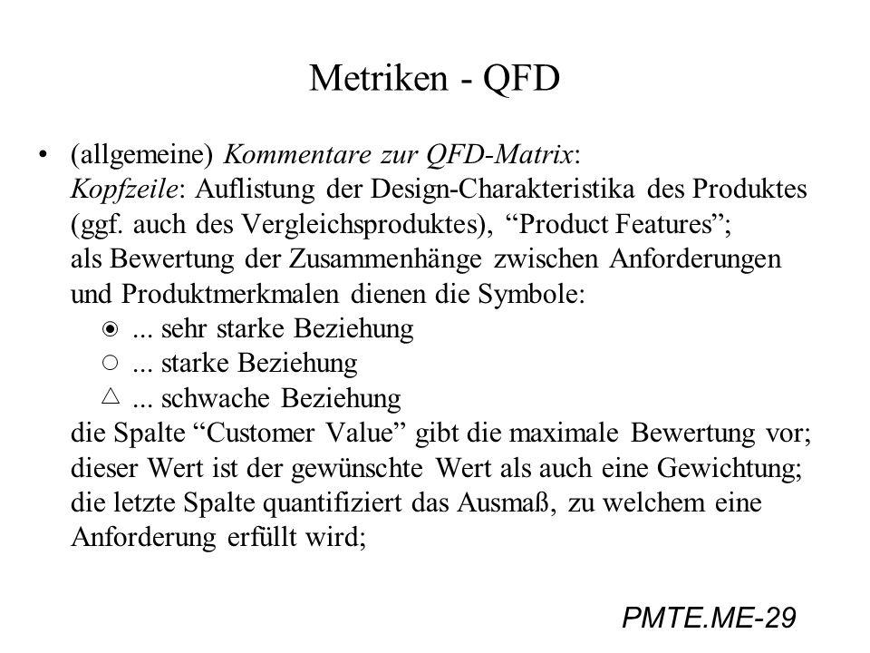 PMTE.ME-29 Metriken - QFD (allgemeine) Kommentare zur QFD-Matrix: Kopfzeile: Auflistung der Design-Charakteristika des Produktes (ggf. auch des Vergle