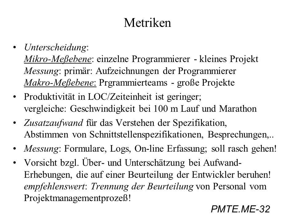 PMTE.ME-32 Metriken Unterscheidung: Mikro-Meßebene: einzelne Programmierer - kleines Projekt Messung: primär: Aufzeichnungen der Programmierer Makro-M