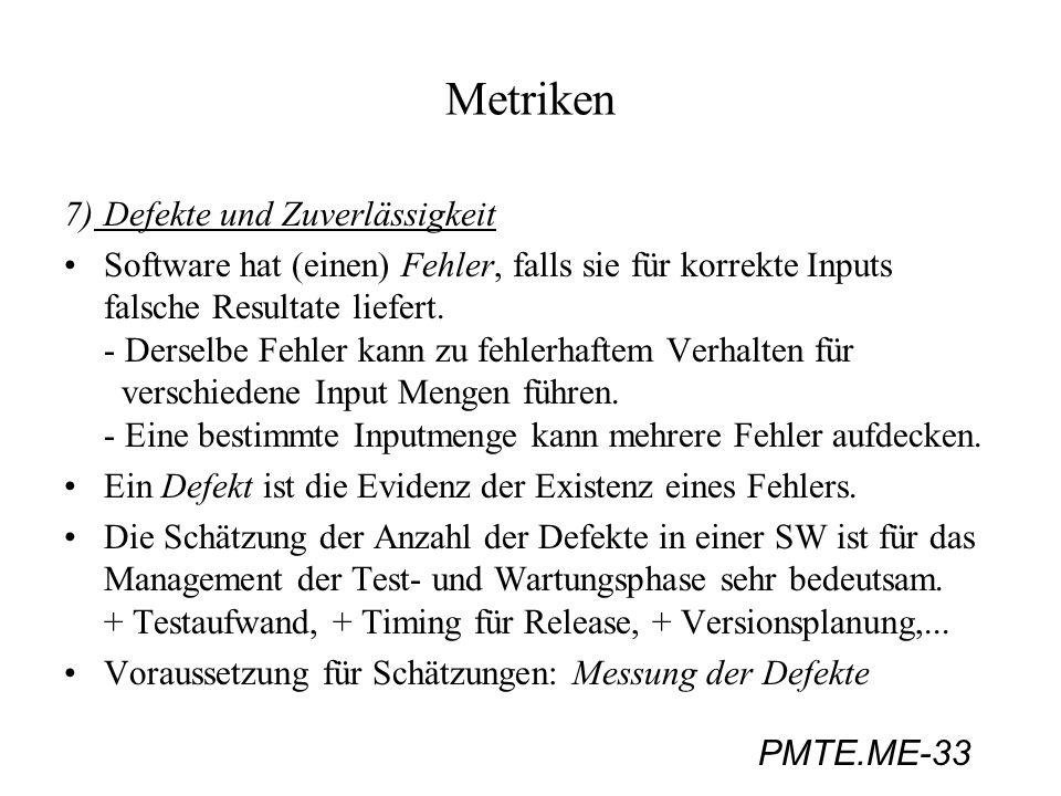 PMTE.ME-33 Metriken 7)Defekte und Zuverlässigkeit Software hat (einen) Fehler, falls sie für korrekte Inputs falsche Resultate liefert. - Derselbe Feh