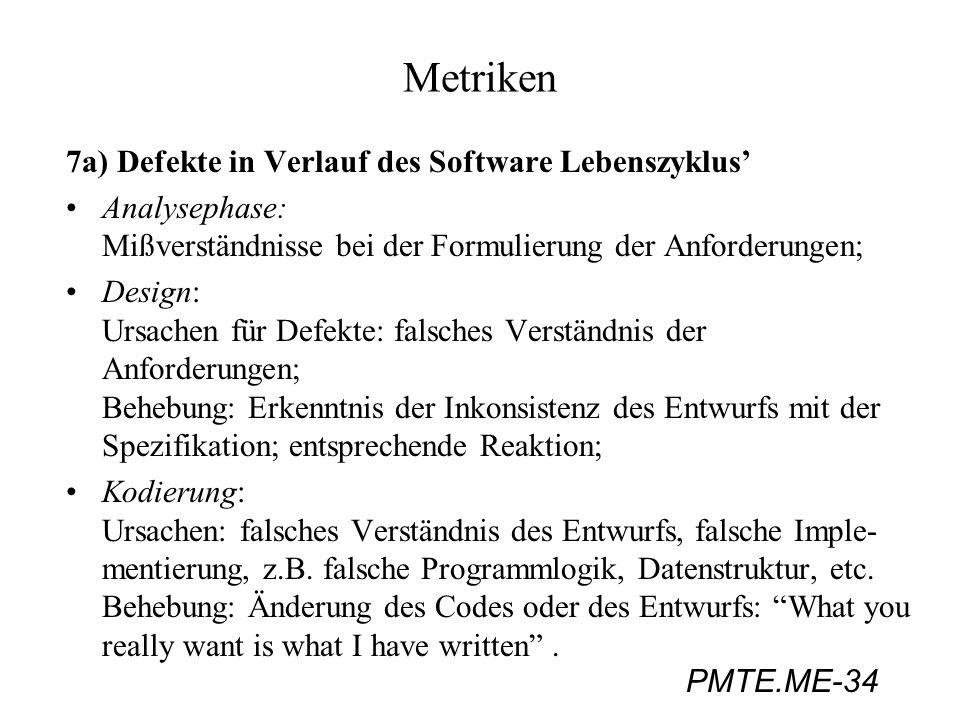 PMTE.ME-34 Metriken 7a) Defekte in Verlauf des Software Lebenszyklus Analysephase: Mißverständnisse bei der Formulierung der Anforderungen; Design: Ur