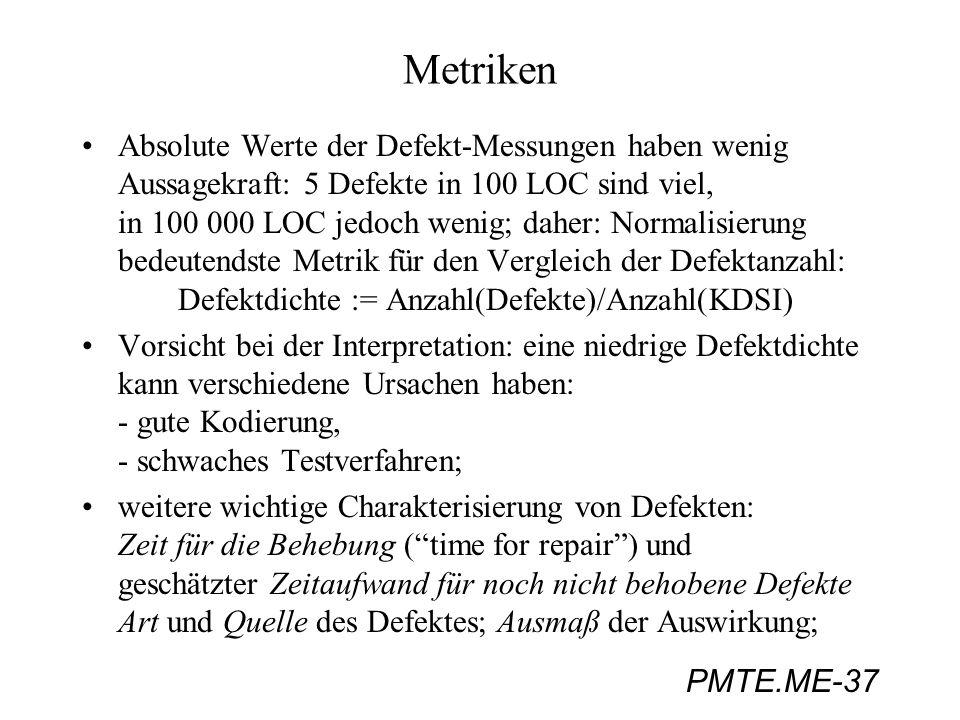 PMTE.ME-37 Metriken Absolute Werte der Defekt-Messungen haben wenig Aussagekraft: 5 Defekte in 100 LOC sind viel, in 100 000 LOC jedoch wenig; daher: