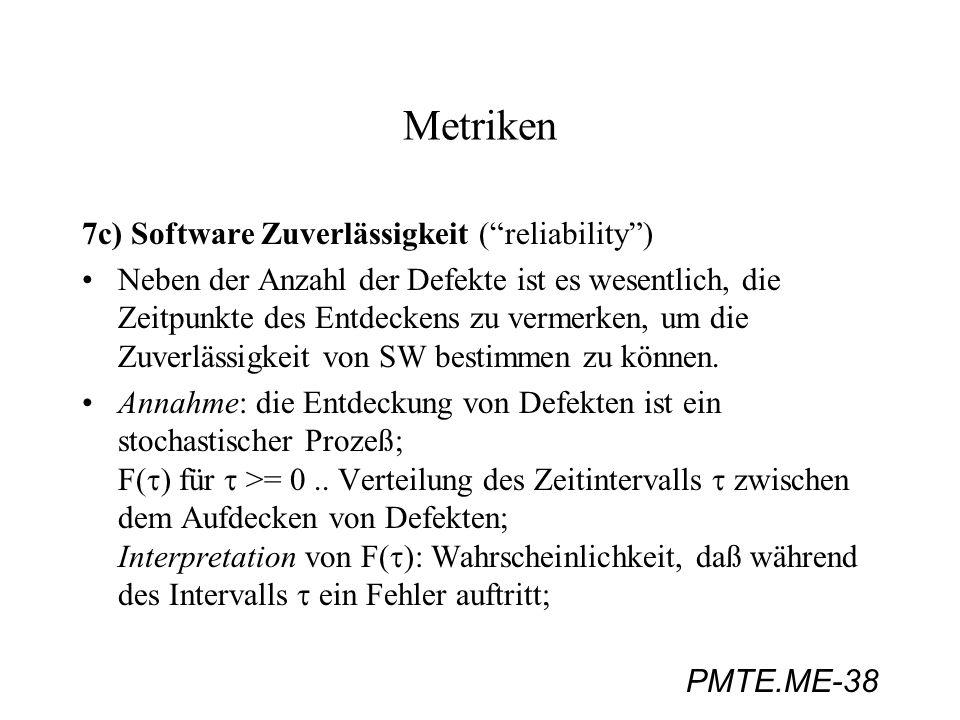 PMTE.ME-38 Metriken 7c) Software Zuverlässigkeit (reliability) Neben der Anzahl der Defekte ist es wesentlich, die Zeitpunkte des Entdeckens zu vermer
