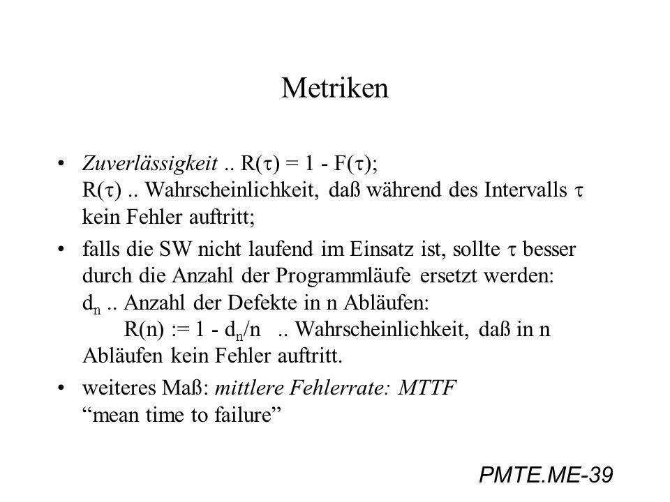 PMTE.ME-39 Metriken Zuverlässigkeit.. R( ) = 1 - F( ); R( ).. Wahrscheinlichkeit, daß während des Intervalls kein Fehler auftritt; falls die SW nicht