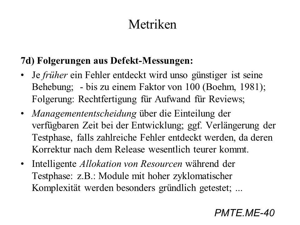 PMTE.ME-40 Metriken 7d) Folgerungen aus Defekt-Messungen: Je früher ein Fehler entdeckt wird unso günstiger ist seine Behebung; - bis zu einem Faktor