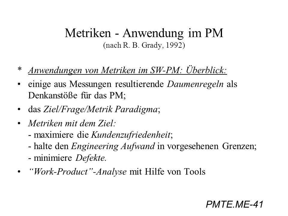 PMTE.ME-41 Metriken - Anwendung im PM (nach R. B. Grady, 1992) *Anwendungen von Metriken im SW-PM: Überblick: einige aus Messungen resultierende Daume