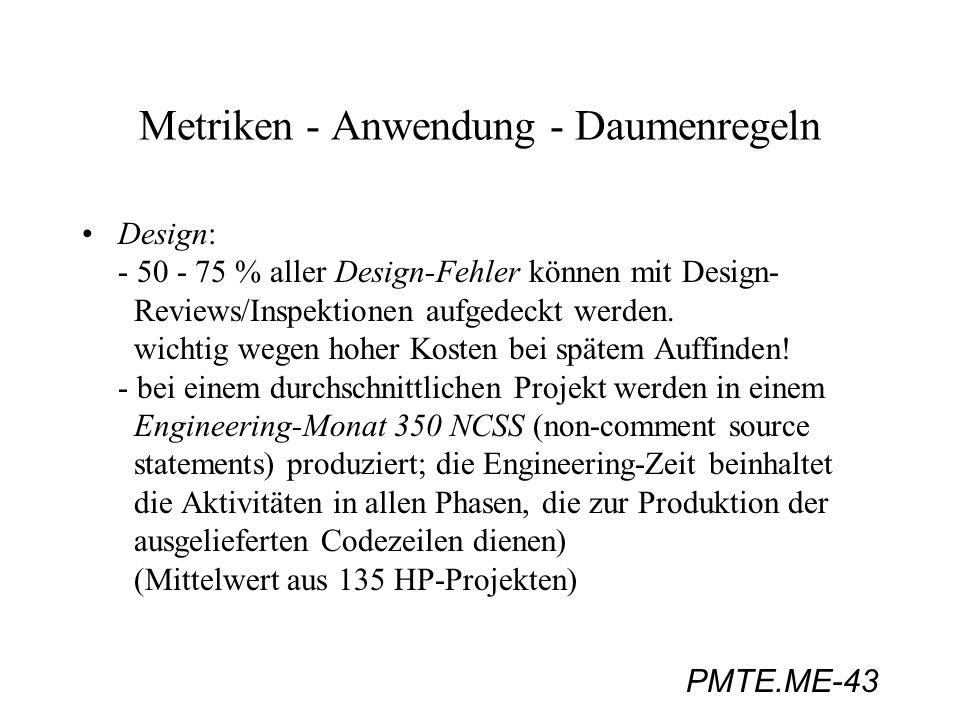 PMTE.ME-43 Metriken - Anwendung - Daumenregeln Design: - 50 - 75 % aller Design-Fehler können mit Design- Reviews/Inspektionen aufgedeckt werden. wich
