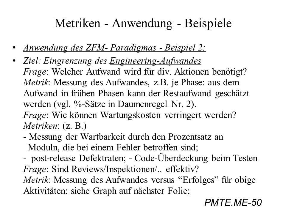 PMTE.ME-50 Metriken - Anwendung - Beispiele Anwendung des ZFM- Paradigmas - Beispiel 2: Ziel: Eingrenzung des Engineering-Aufwandes Frage: Welcher Auf