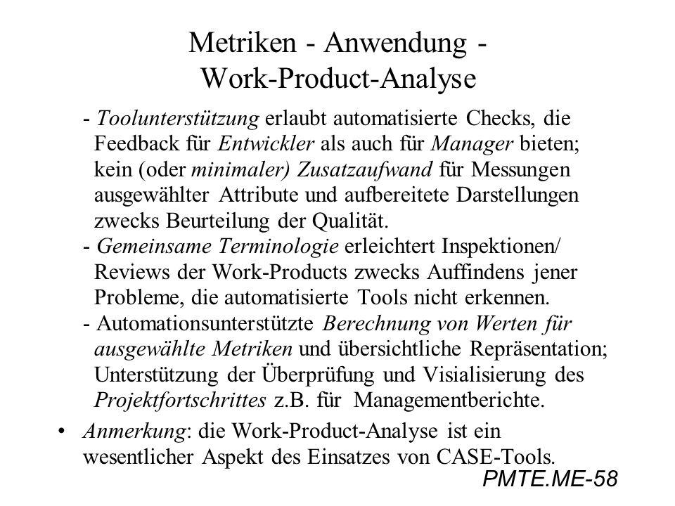 PMTE.ME-58 Metriken - Anwendung - Work-Product-Analyse - Toolunterstützung erlaubt automatisierte Checks, die Feedback für Entwickler als auch für Man