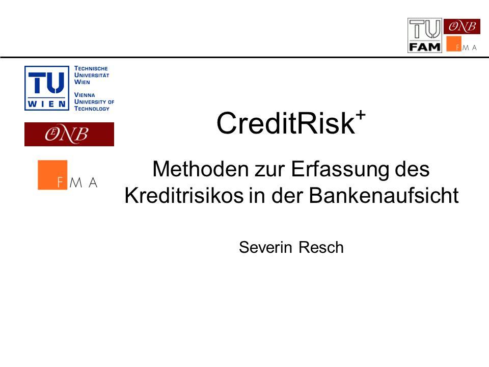2 Inhalt 1.Ausgangslage OeNB/FMA – TU-Wien 2.Vor- und Nachteile gängiger Kreditrisikomodelle 3.Beschreibung CreditRisk + 4.Implementation 5.Datenerfassung und -aufbereitung 6.Erweiterungen