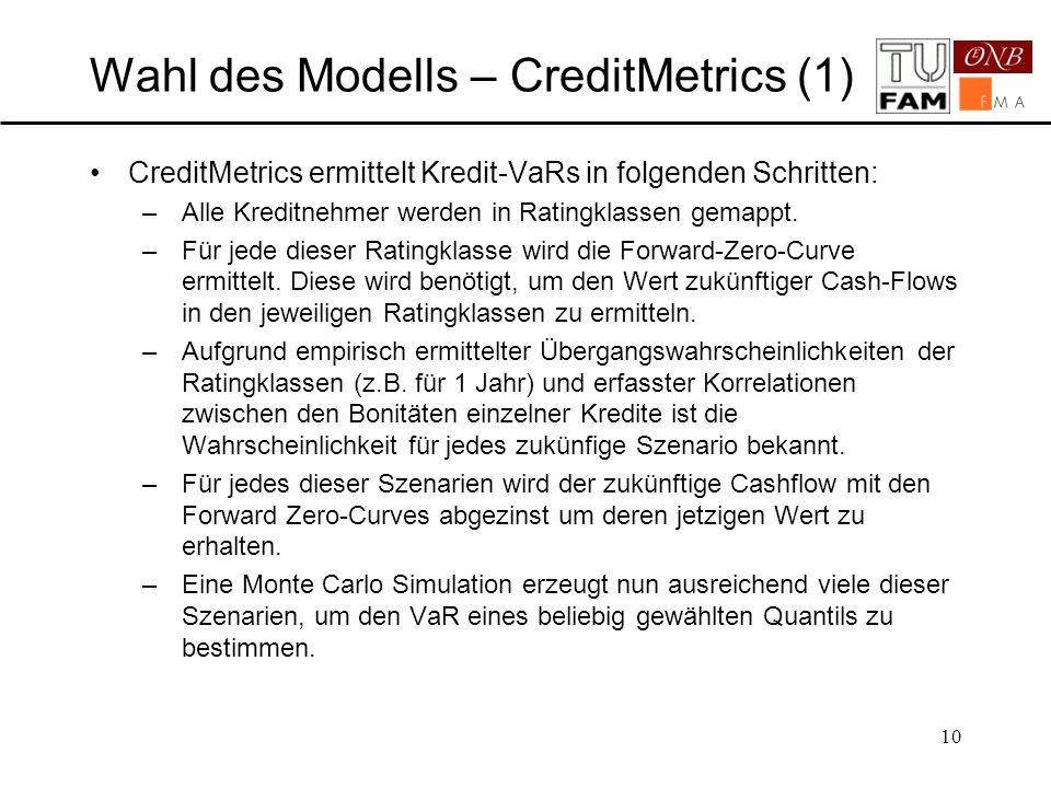 10 Wahl des Modells – CreditMetrics (1) CreditMetrics ermittelt Kredit-VaRs in folgenden Schritten: –Alle Kreditnehmer werden in Ratingklassen gemappt