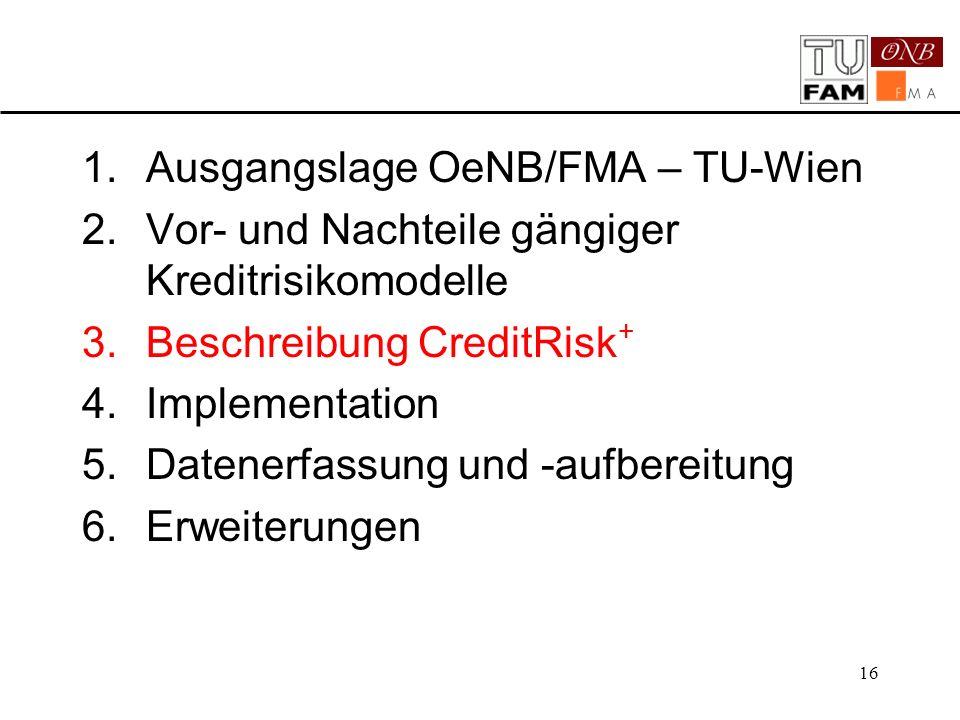 16 1.Ausgangslage OeNB/FMA – TU-Wien 2.Vor- und Nachteile gängiger Kreditrisikomodelle 3.Beschreibung CreditRisk + 4.Implementation 5.Datenerfassung u