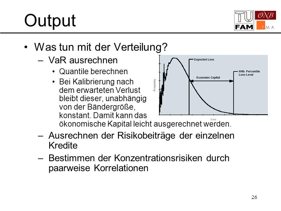 26 Output Was tun mit der Verteilung? –VaR ausrechnen Quantile berechnen Bei Kalibrierung nach dem erwarteten Verlust bleibt dieser, unabhängig von de